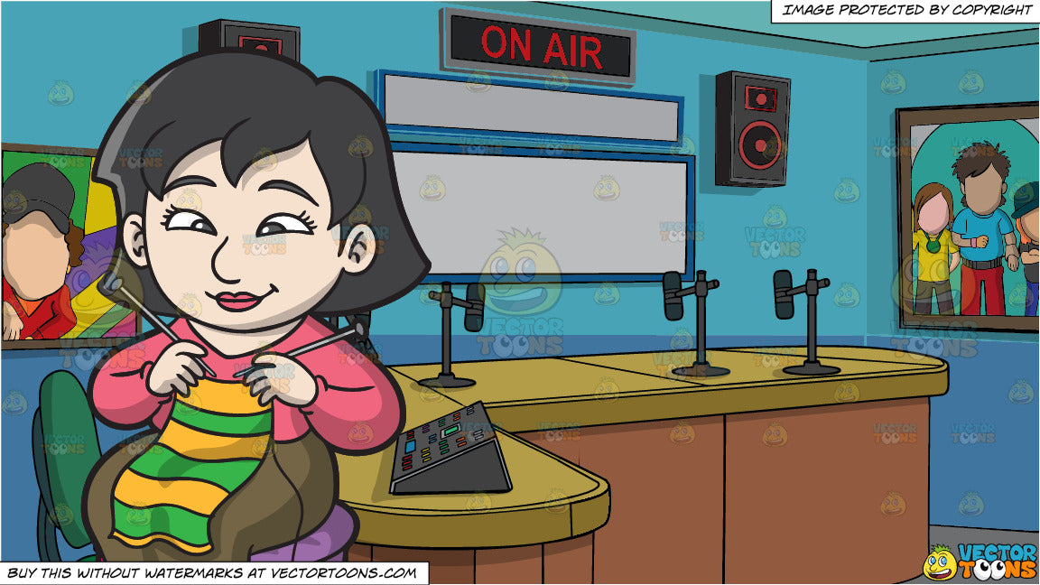 An Asian Woman Knitting A Scarf and A Radio Station Studio Room Background