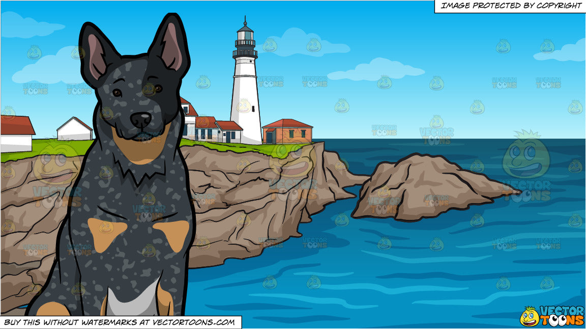 An Attentive Australian Cattle Dog And Portland Lighthouse Background