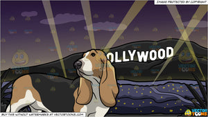 An Attentive Basset Hound Pet Dog and Hollywood Sign At The Night Background