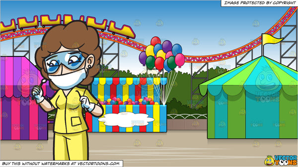 An Attentive Female Dental Hygienist And An Amusement Park With Roller Clipart Cartoons By Vectortoons