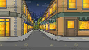An City Side Street At Night Background