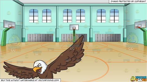 An eagle that is about to land and Indoor Basketball Court Background