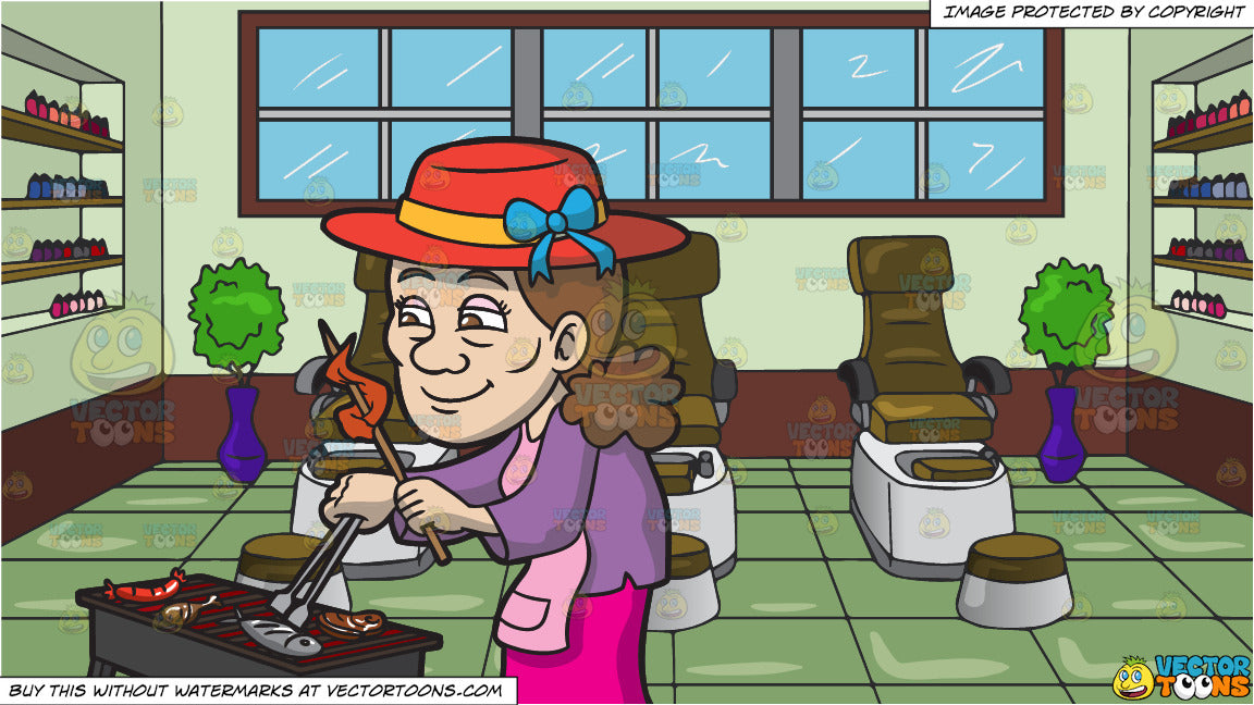 An Elderly Woman Barbecuing Different Kinds Of Meat and Pedicure Chairs At  A Spa Background