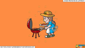 Cartoon clipart: an elderly woman barbecuing sausages and steak on a solid mango orange ff8c42 background