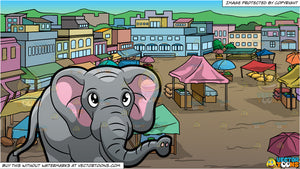 An Elephant Walking Around At The Zoo and View Of An Outdoor Rural Market Background