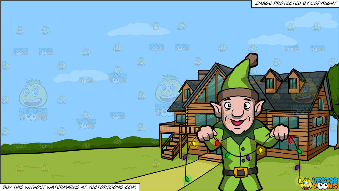 House With Christmas Lights Clipart.An Elf Installing Christmas Lights And A Countryside Log House Background