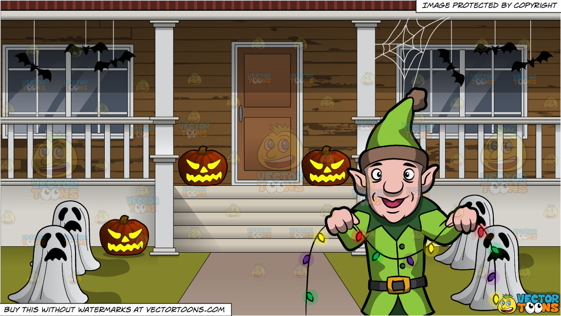 House With Christmas Lights Clipart.An Elf Installing Christmas Lights And The Outside Of A House Decorated For Halloween Background