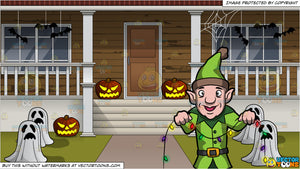 An Elf Installing Christmas Lights And The Outside Of A House Decorated For Halloween Background