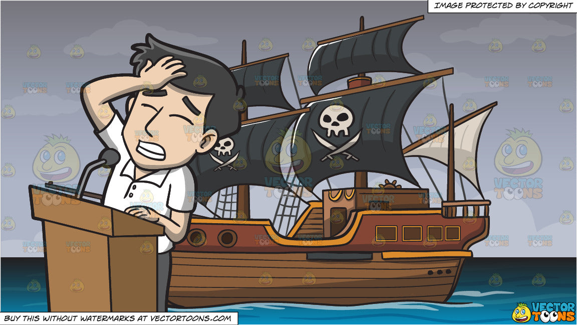 An Embarrassed Man Making A Mistake During His Speech and Pirate Ship  Background