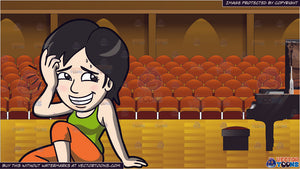 An Embarrassed Woman Falling Down The Floor and Interior Concert Hall Background