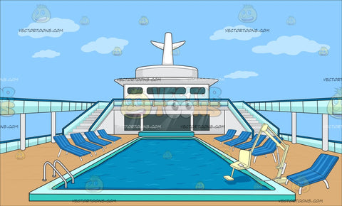 An Empty Cruise Ship Pool Deck Background