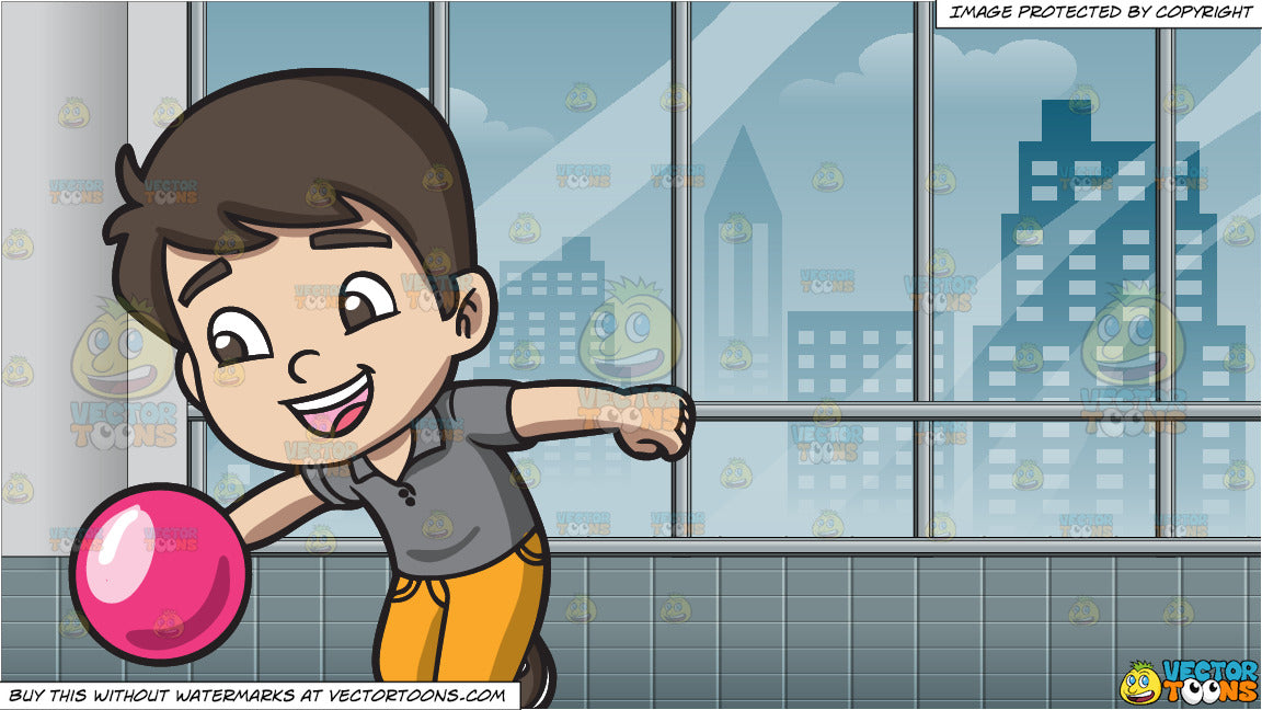 An Energetic Boy Enjoying The Game Of Bowling and Inside A Room With  Windows Looking Out At The City Background