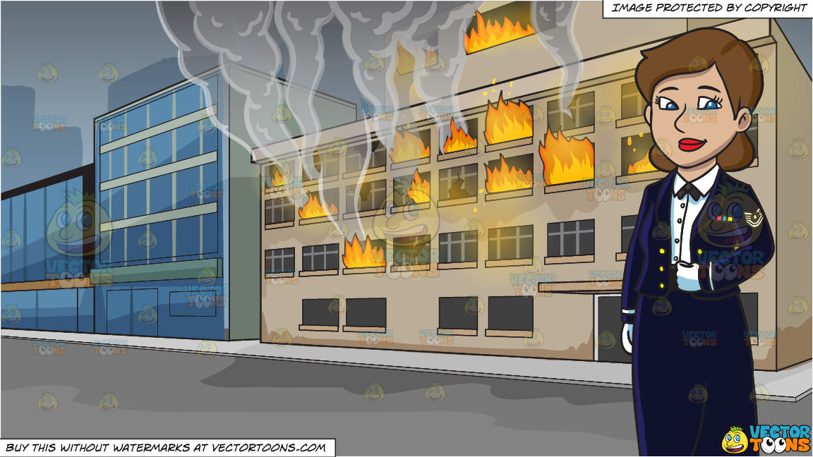An Enlisted Female Dressed In A Us Air Force Mess Dress Uniform and A  Building On Fire Background