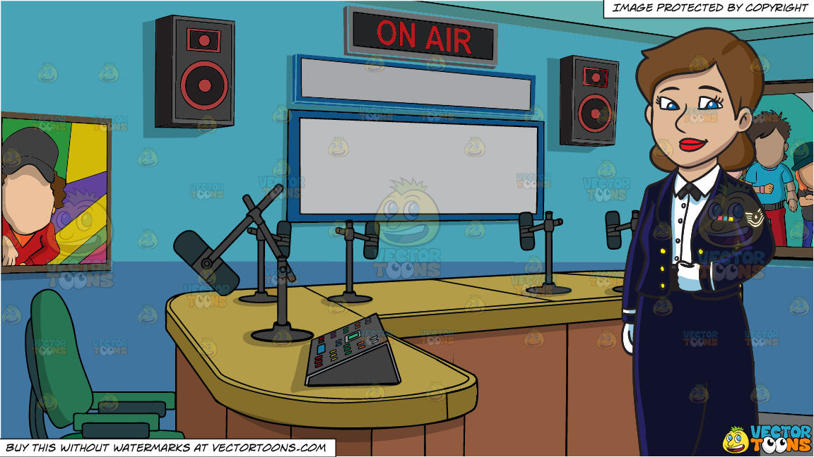 An Enlisted Female Dressed In A Us Air Force Mess Dress Uniform and A Radio  Station Studio Room Background