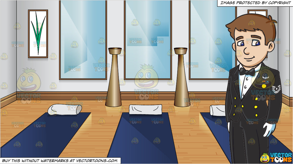 An Enlisted Man Dressed In A Us Air Force Mess Dress Uniform and A Small  Yoga Room