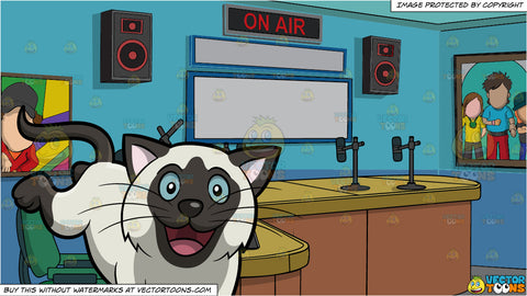 An Excited And Happy Cat and A Radio Station Studio Room Background