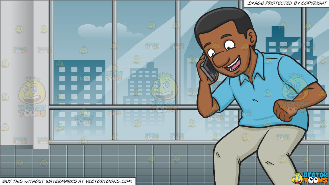 An Excited Black Man Calling Someone On His Phone And Inside A Room