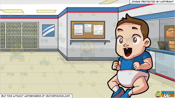 An Excited Little Boy And A Post Office Background Clipart