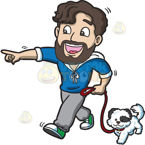 An excited man walking his dog