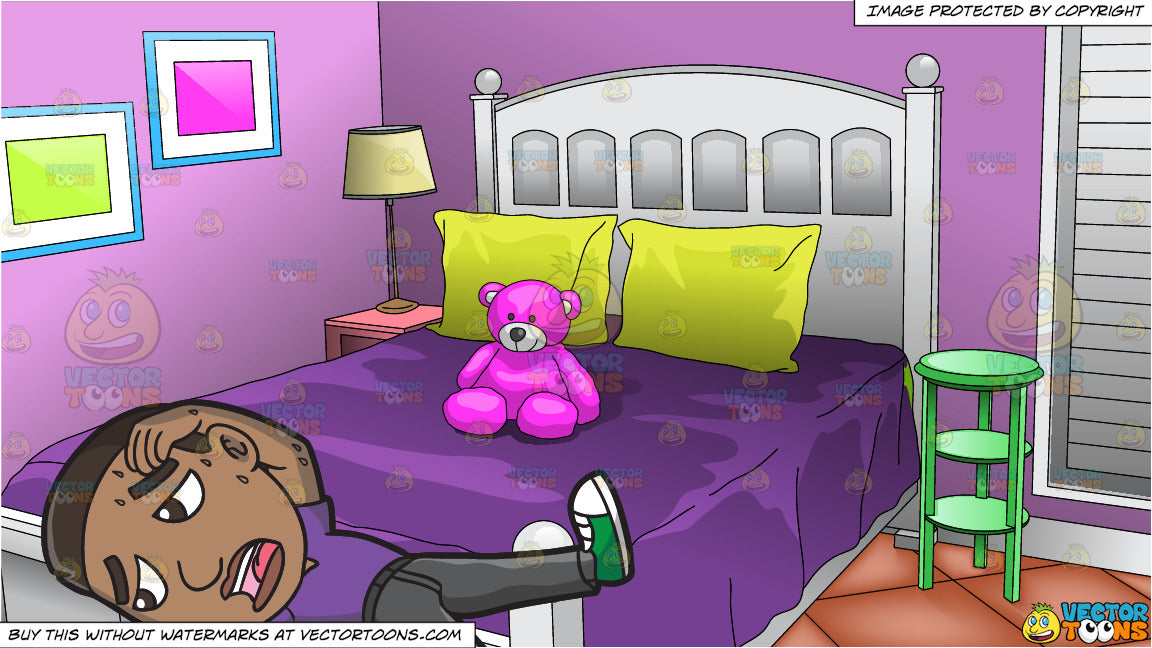 An Exhausted Black Man Lying Down On The Floor And Young Girls Bedroom Background