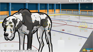 An Exhausted Great Dane Dog and Ice Hockey Rink Background