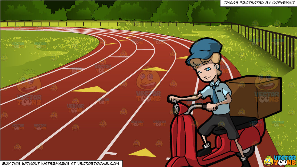 An Express Courier Employee Riding A Scooter and Outdoor Running Track  Background