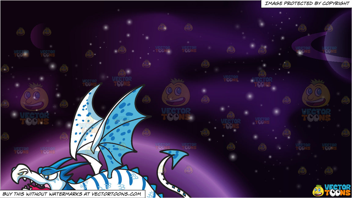 An Ice Dragon and Outer Space Background