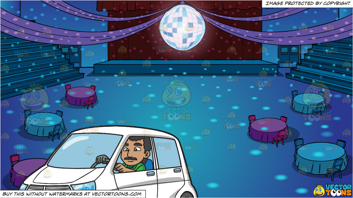 An Indian Man Driving A White Vehicle and A School Gym Set Up For Prom Background