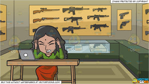 An Indian Woman Frustrated With Her Job and A Gun Store Background