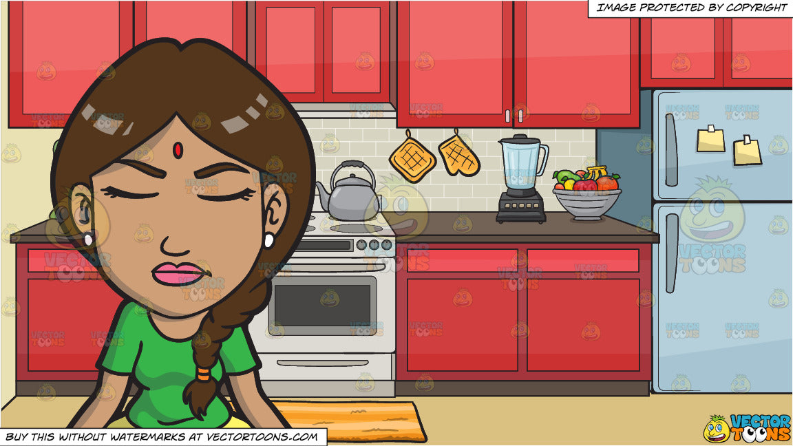 An Indian Woman In Meditation And A Stove In The Kitchen Background Clipart Cartoons By Vectortoons