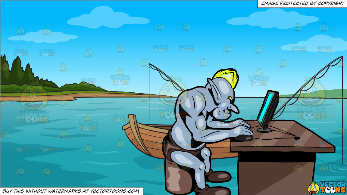 An Internet Troll Trying To Use A Desktop Computer and Fishing Boat On The  Lake Background