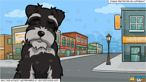 An Intrigued Miniature Schnauzer Dog and A Row Of Suburban Shops Background