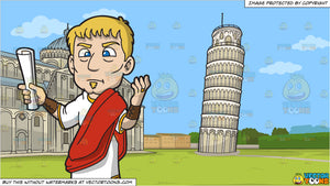 An Irritated Roman Senator and The Leaning Tower Of Pisa Background
