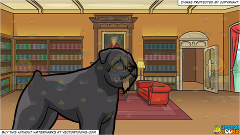 An Observant Bouvier Des Flanders Dog and A Castle Library Background