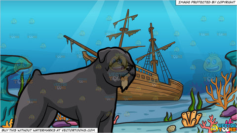 An Observant Bouvier Des Flanders Dog and A Shipwreck Background