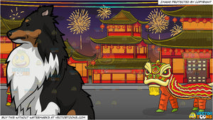 An Observant Shetland Sheep Dog and Chinese New Year Background