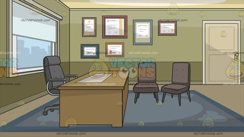 An Office With Diplomas On The Wall Background