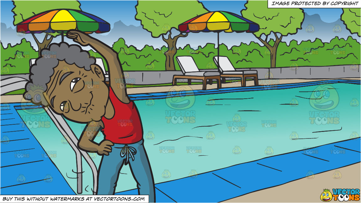 An Old Black Man Stretches Before An Exercise and A Swimming Pool At A  Hotel Background
