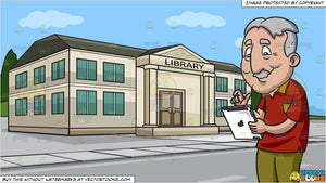 An Old Man Playing With His Mobile Tablet and A Small Town Library Background