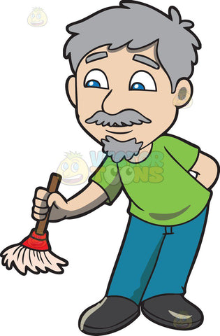 An old man with a small broom