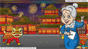 an old woman listening to music on her ipad and chinese new year background