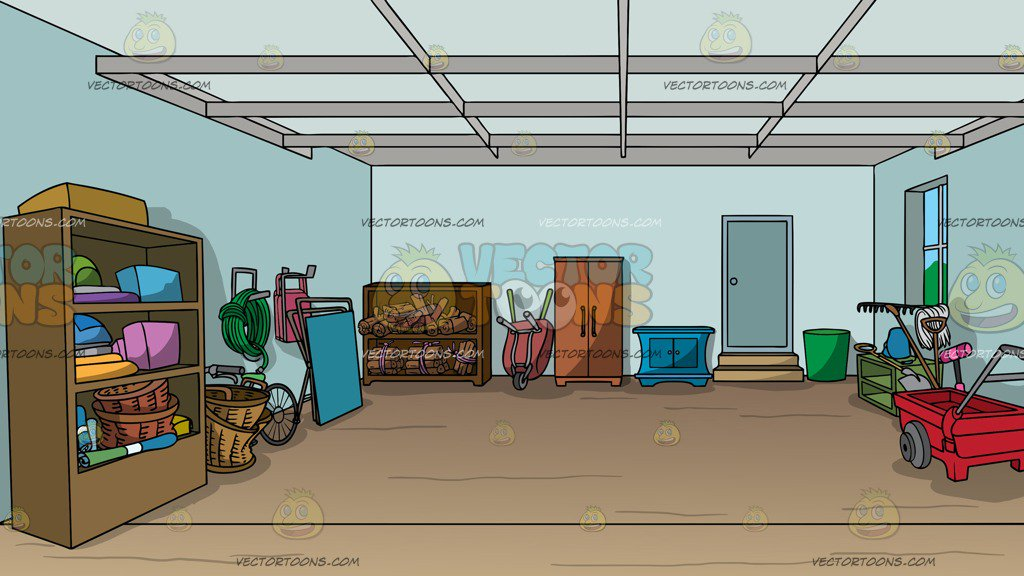 An Organized Garage Background Clipart Cartoons By