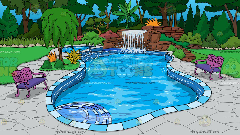 An Outdoor Pool With Waterfall Background Clipart
