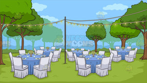 An Outdoor Wedding Reception Background