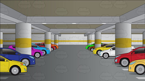 An Underground Parking Lot Filled With Cars Background