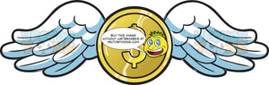 A Gold Coin With Angel Wings