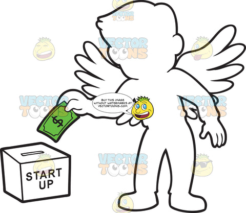 An Angel Investor Donating A Dollar Bill Into A Box Labeled Start Up