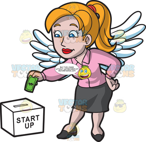 A Female Angel Investor Placing Money In A Start Up Donation Box