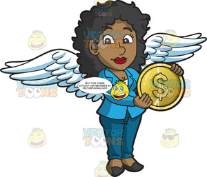 A Female Angel Investor Holding A Gold Coin
