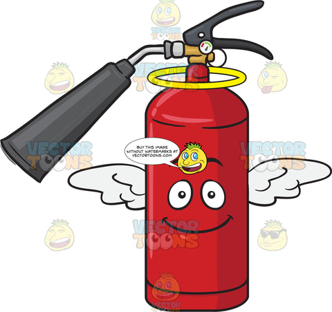 Angelic Fire Extinguisher With Halo And Wings Emoji